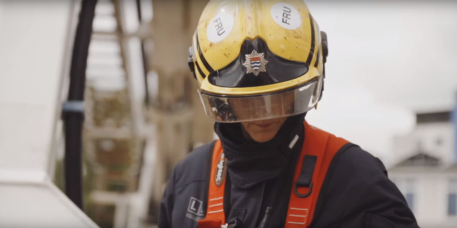Firefighter in helment close up