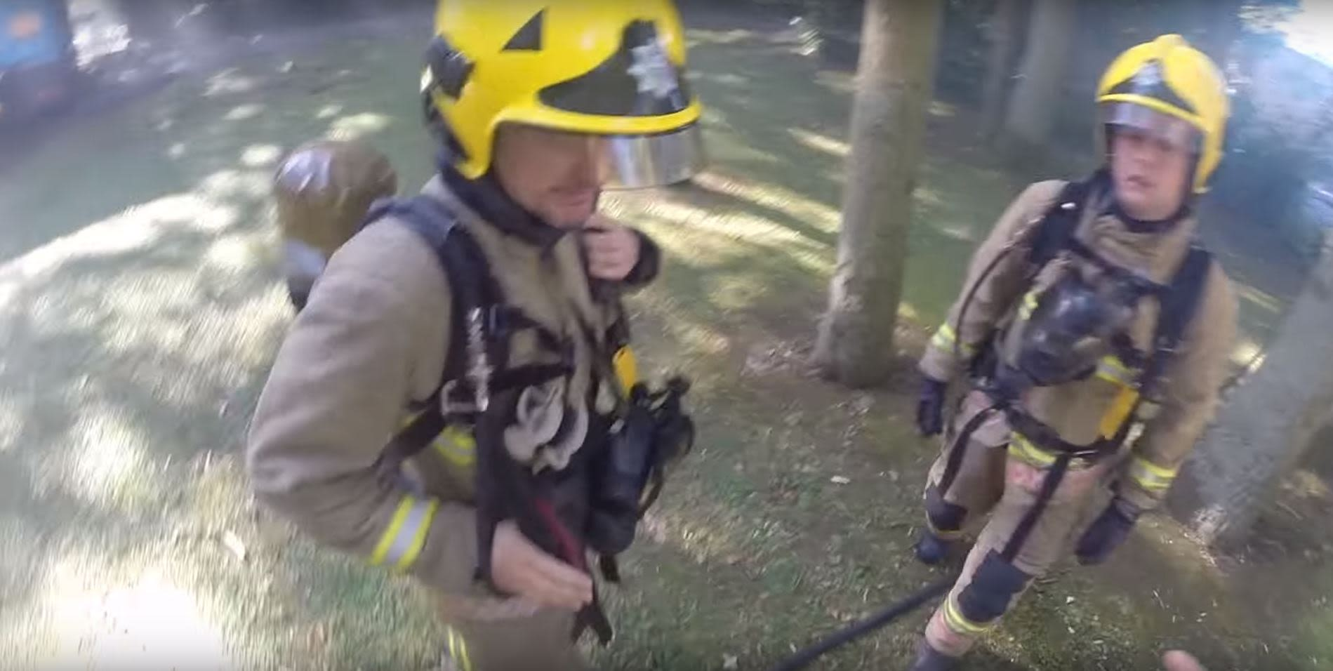 Firefighters from a helmet camera