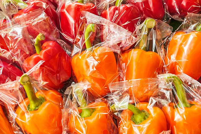 Individually wrapped peppers.