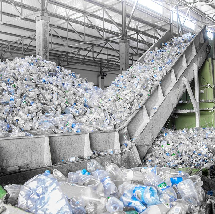 A busy plastic bottle recycling plant.
